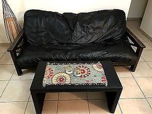 Vendo futón cama, 3 cuerpos + mesa + puff