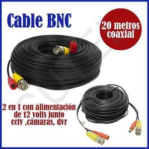 Cable 20mts Video Bnc + Alimen Dvr Cctv Camaras