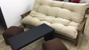 vendo combo futon mas mesa y 2 puff cubo!!