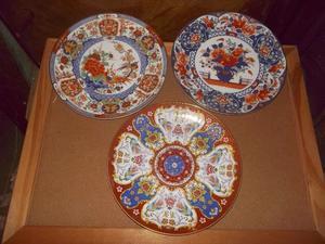 antiguos platos decorativos de porcelana tsuji con oro 24k