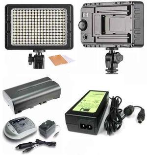 Iluminador 204 Led Dimmer + Batería + Cargador Y Fuente