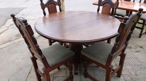 Juegos de mesa redonda y 6 sillas de algarrobo tapizadas