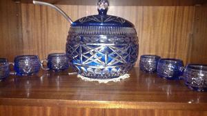 Ponchera completa en cristal azul