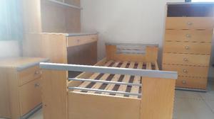 Juego dormitorio juvenil (cama, escritorio c/biblioteca,