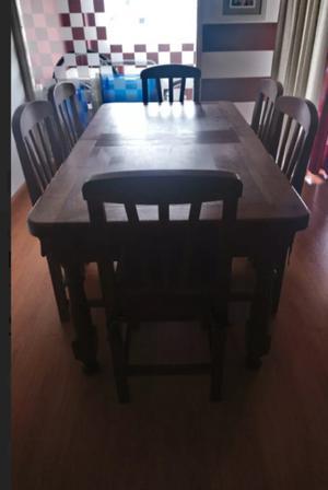 juego de comedor de algarrobo mesa extensible