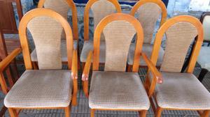 Antiguo juego de sillas de Cedro tapizadas en pana