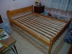 Vendo cama de pino de dos plazas