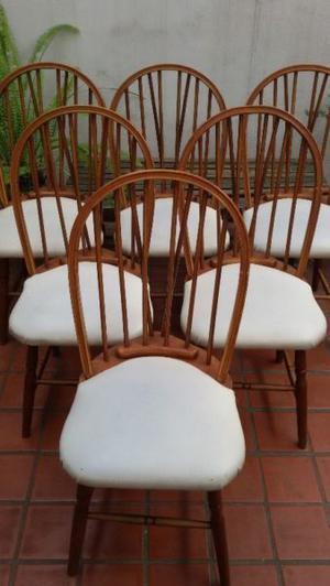 Juego de 6 sillas antiguas windsor tapizadas eco cuero