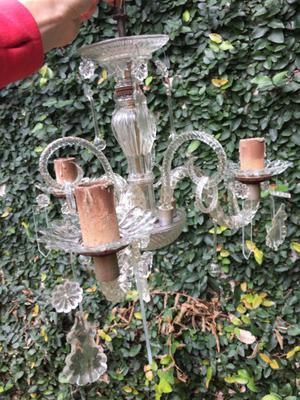 lámpara araña colgante de vidrio antigua