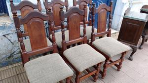 Juego de sillas de algarrobo tapizadas como nuevas