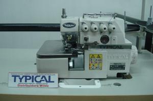 Máquina overlock industrial de 4 hilos con motor