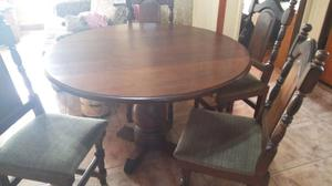 Antiguo juego de mesa y sillas de algarrobo macizo