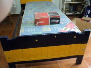CAMA DE 1 PLAZA DE PINO: Largo de la cama 190 cm, Ancho de