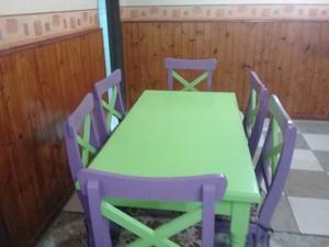 juego de mesa con 6 sillas + mesita