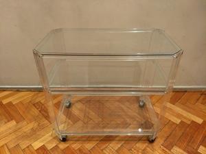 Mesa de televisor de vidrio y acrilico