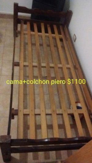 CAMA 1 PLAZA+COLCHON+MESA DE LUZ