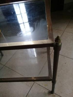 mesa de bronce y vidrio para living