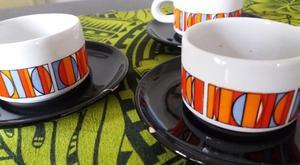 4 TAZAS DE CAFÉ 3 PLATOS CON DETALLES