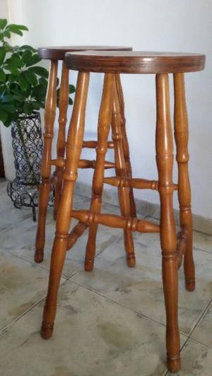 2 banquetas sillas altas taburete estilo boston madera roble