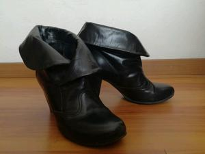 Botas mujer cuero negro 36