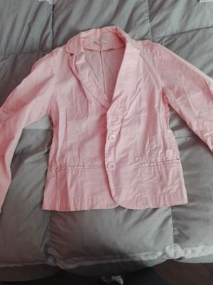 Saco blazer mujer de gabardina, color rosa, talle S
