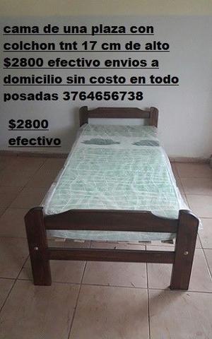 conjunto cama de una plaza con colchón $