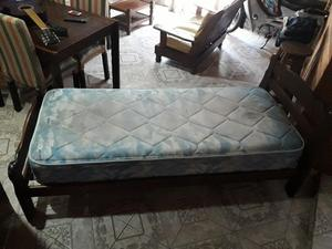 CAMA DE 1 PLAZA (LARGA) Y COLCHÓN PIERO CON RESORTES