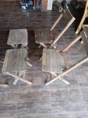 Jgo de sillas y mesa de madera antiguo
