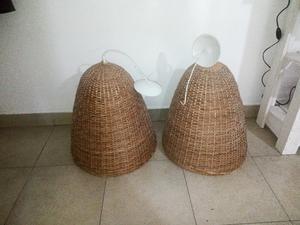 Dos lámparas de mimbre en excelente estado