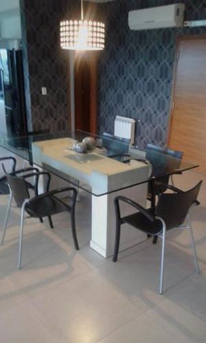 Mesa de comedor tapa de vidrio rectangular
