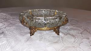 Cenicero de cristal y bronce 20cm de diámetro