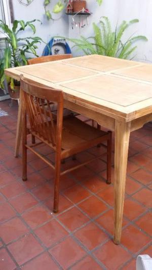 Juego comedor mesa extensible y 6 sillas madera petiribi