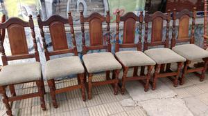 6 sillas de algarrobo tapizadas como nuevas