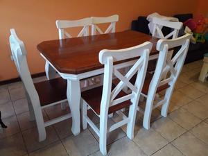 Juego de Mesa y 6 sillas de Pino Macizo