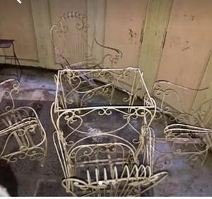 Juego de jardin en hierro forjado antiguo