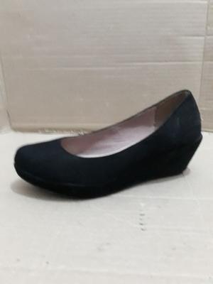 Zapatos Gamuza Taco Chino Negros