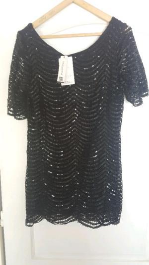 Vestido de fiesta lentejuelas negro