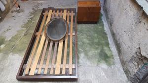 Juego Dormitorio Cama 1 Plaza Mesita Luz Espejo