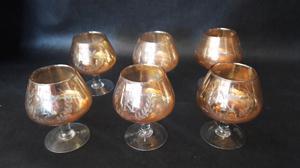 Juego de 6 copas antiguas color caramelo talladas