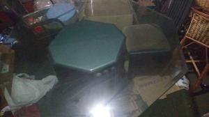 Juego de comedor con 6 sillas, mesa octogonal y mueble con