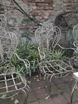 Antiguo juego de jardin 5 sillones y mesa