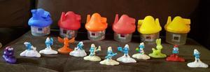 6 Casitas con 12 Muñecos de Plastico Pitufos Mc Donalds