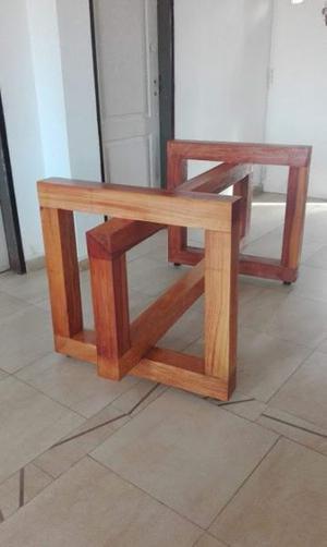 Base pie de mesa comedor cocina vidrio madera