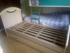 cama marinera 1 plaza con mesa de luz