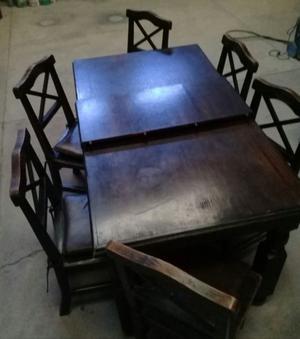 Juego de mesa y seis sillas