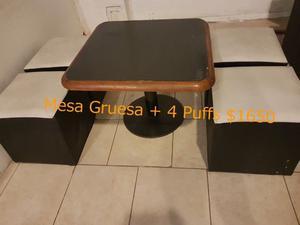 Puffs 4 + 1 Mesa de madera y hierro
