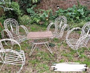 Juego de jardin antiguo de hierro forjado