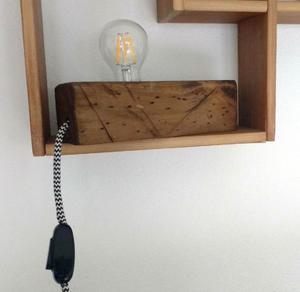 Velador Lámpara Madera Vintage Lámpara De Filamento Led