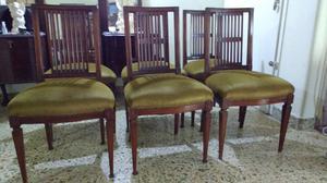 Hermoso juego de sillas antiguas estilo inglés de Roble