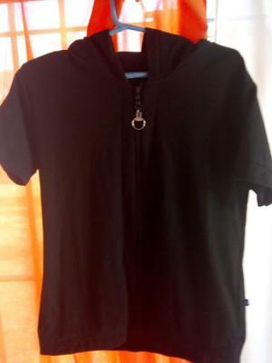 Chaleco de tela de remera talle m color negro con cierre